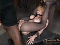 Gagged and bound slut fucked in the ass by bbc tubes