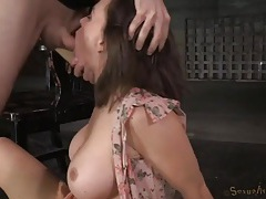 Tied to a chair and fucked in her wet throat tubes