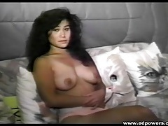 Interview and striptease with a vintage brunette tubes