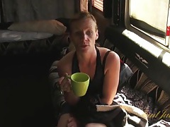 Mature blonde finishes her tea and gets naked tubes