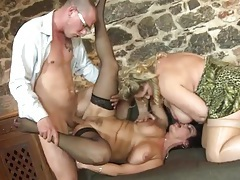 Three horny old ladies serviced by young cocks tubes