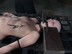 Electro pain and slow water torture for a bald girl tubes