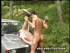 Bent over the hood of a car and ass fucked tubes