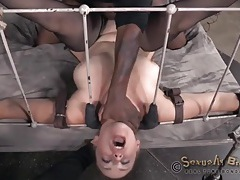 Kinky masters fuck a bound girl in bed tubes