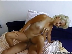 Fun and sexy blonde sucks and sits on a dick tubes