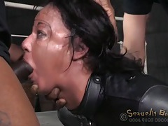 Leather straitjacket on a cock whore used by two guys tubes