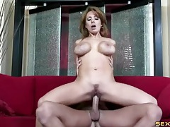 Slutty milf with big fake titties rides a boner tubes