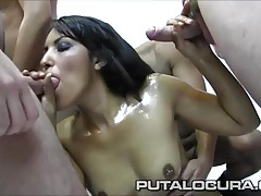 Oiled up slut in a blowbang takes lots of hot cumshots tubes