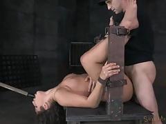 Babe in a bondage device takes a hard pounding tubes