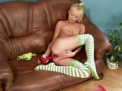 Red dildo slowly fucks her lovely teenage cunt tubes