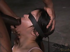 Tied girl mouth fucked by two horny guys tubes