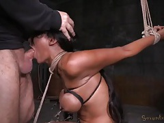Painful bondage and a rough facefuck for sadie santana tubes