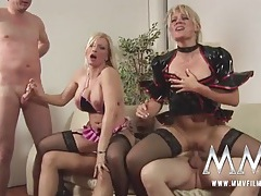 German cock whores share cum kisses in a foursome tubes
