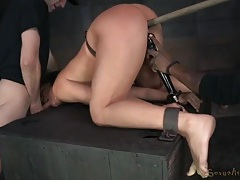 Bdsm slave girl fucked from behind in the dungeon tubes