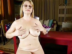 Chatty naked mom fondles her big tits gently tubes