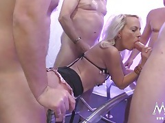 Milf gangbang whore fucked by lots of cock tubes