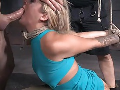 Dicks destroy the throat and cunt of a bound slave tubes