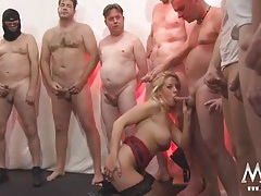 Guys are lined up to get sucked by a milf slut tubes
