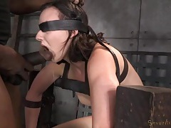 Bound chick sitting on the sybian gags on a dick tubes