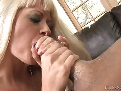 Blonde tries her best to deepthroat his cock tubes