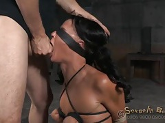 Girl with tied up small tits face fucked by stiff dicks tubes