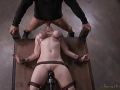 Chick with tied up tits vibrated and throat fucked tubes
