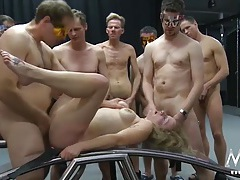 Gangbang whore used hard and covered in cum tubes