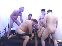 Blondes gangbanged by a group of horny gentlemen tubes