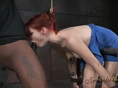 Violet monroe throat fucked in sexy bondage tubes