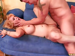 Milf slut with implants fucked in her tight cunt tubes