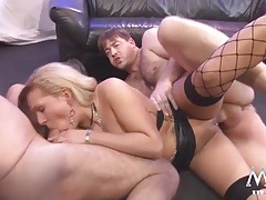 Tattooed milf is a cock whore in a gangbang tubes