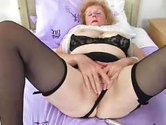 Huge clit ring on this dirty grandma tubes
