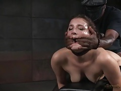 Cute bound girl spit roasted by two horny guys tubes