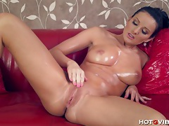 She fingers her dripping wet pussy tubes