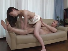 Japanese grandpa fucks her tight young twat tubes