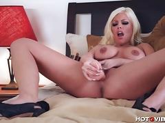 Horny blonde fucks a big dildo tubes