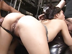 Wet blowjobs for two guys from this cutie tubes