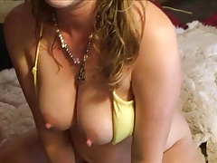 Curvy body girl in a yellow bikini banged in her cunt tubes