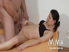 Fat guy fucks a skinny hottie in a black bra tubes