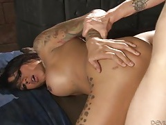 Tight and smooth tranny ass fucked by a bare cock tubes