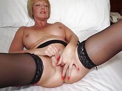 Big boobs older babe finger fucks in stockings tubes