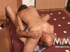Skinny girl and a horny bald guy have great sex tubes