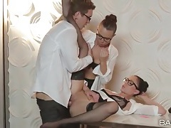 Office beauties in white blouses fuck the boss tubes