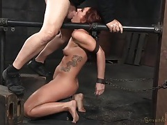 Red haired girl in the dungeon gets mouth fucked tubes