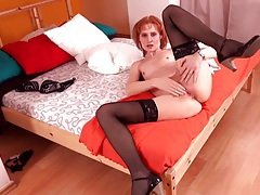 Skinny redhead finger banging her tight twat tubes