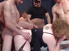 Chubby whore fucked by strangers in a wild gangbang tubes
