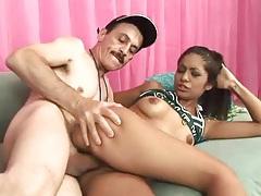 Horny cheerleader fucks a big old dude dick tubes
