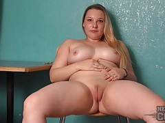 Chubby college coed spreads her pussy lips tubes