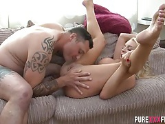 Blonde slut with a clit piercing gets fucked tubes
