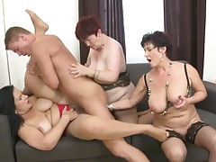 Three mature babes with great tits share a young dick tubes